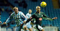 Photo: Leigh Quinnell.<br /> Coventry City v Plymouth Argyle. Coca Cola Championship.<br /> 03/12/2005. Coventrys Andy Morrell keeps an eye on Plymouths Jason Jarrett.