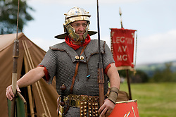 A member of the Legio VIII Augusta Military and Civilian Living History Society on sentry duty at a multi period event held in Norfolk Heritage Park Sheffield.29th and 30th Aug 2010 .Images © Paul David Drabble..