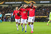 Goal Manchester United forward Anthony Martial (9) scores a goal and celebrates 1-1 during the Europa League match between Club Brugge and Manchester United at Jan Breydel Stadion, Brugge, Belguim on 20 February 2020.