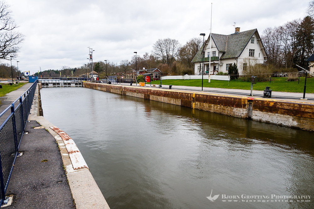Sweden, Vänersborg. Lock in Göta kanal.