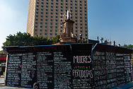 Ciudad de México, 20 octubre 2021. Antimonumenta colocada por mujeres feministas en la antigua glorieta de Colón llamada ahora Glorieta de las Mujeres que Luchan.