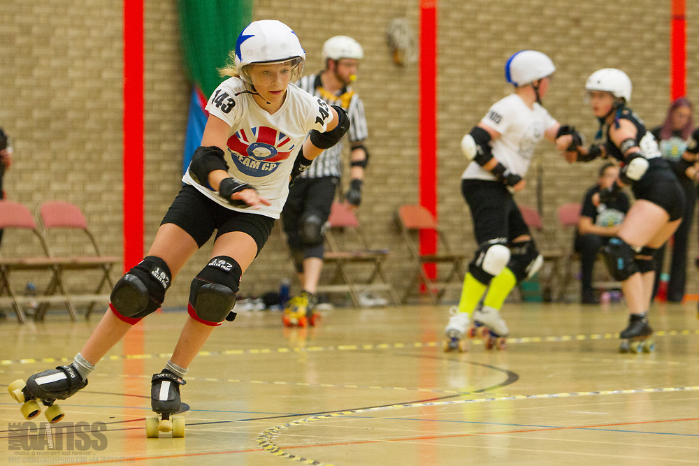 A glimpse of roller derby's future as junior skaters put on an exhibition game at the 2018 MRDA European Qualifiers, North Bridge Leisure Centre, Halifax, United Kingdom, 2018-08-19