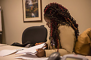 Purchase, NY – 31 October 2014. Palisade Preparatory School student Tyquana Johnson reviewing her case notes. The Business Skills Olympics was founded by the African American Men of Westchester, is sponsored and facilitated by Morgan Stanley, and is open to high school teams in Westchester County.
