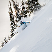 Rachel Burkes finds powder in the Teton backcountry.