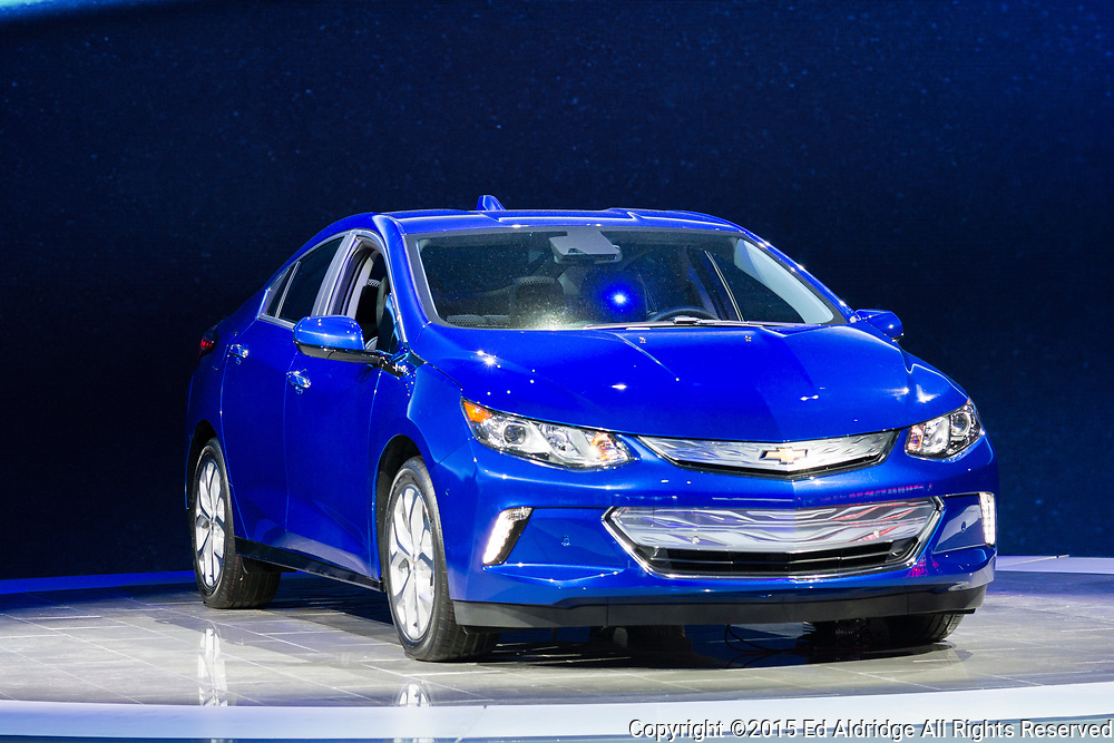 DETROIT, MI, USA - JANUARY 13, 2015: Chevrolet Volt hybrid on display during the 2015 Detroit International Auto Show at the COBO Center in downtown Detroit.