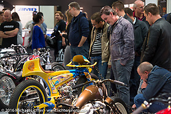 The custom dedicated Hall 10 was always busy around the AMD World Championship of Custom Bike Building during the Intermot Motorcycle Trade Fair. Cologne, Germany. Saturday October 8, 2016. Photography ©2016 Michael Lichter.