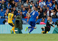 Football - 2016/2017 Premier League - Leicester Ciity V Arsenal. <br /> <br /> Kasper Schmeichel of Leicester City makes himself big to block Mesut Ozil of Arsenal at The King Power Stadium.<br /> <br /> COLORSPORT/DANIEL BEARHAM