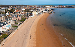 Aerial view of beach at Elie on the East Neuk of Fife, in Scotland, UK
