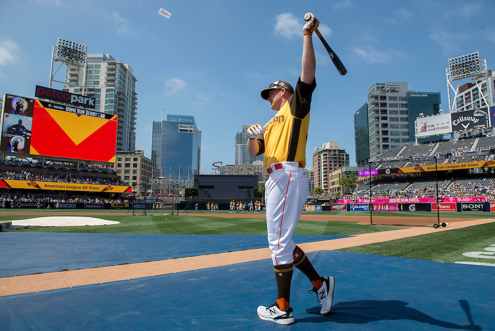 Villa Park native and former Angel Mark Trumbo prepares to take batting practice before the 2016 Home Run Derby at Petco Park in San Diego on Monday.<br /> <br /> ///ADDITIONAL INFO:   <br /> <br /> derby.0712.kjs  ---  Photo by KEVIN SULLIVAN / Orange County Register  -- 7/11/16<br /> <br /> The 206 MLB All-Star Game at Petco Park in San Diego. <br /> <br /> Villa Park native and former Angel Mark Trumbo competes in the Home-run Derby.