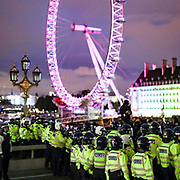 Police clash with protestors over Westminster Bridge in central London on Sunday, Jun 7, 2020, during a rally, to protest against the killing of George Floyd by police officers in Minneapolis, USA. Floyd, a black man, died after he was restrained by Minneapolis police while in custody on May 25 in Minnesota. (Photo/ Vudi Xhymshiti)