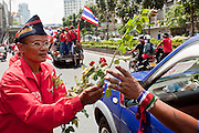 Apr. 12, 2010 - BANGKOK, THAILAND: A Red Shirt prays and presents roses to the families of Red Shirt supporters killed in Bangkok Saturday during the Red Shirt funeral procession Monday. The funeral cortege for the Red Shirts killed in the violent crackdown Saturday wound through Bangkok Monday. Thousands of mourners came out to pay respects for dead Red Shirts. 21 people, including 16 Thai civilians were killed when soldiers tried to clear the Red Shirts' encampment in Bangkok. Thousands more came out to call for the government of Thai Prime Minister Abhisit Vejjajiva to step down. Today Gen. Anupong Paojinda, the Chief of Staff of the Thai Army, reiterated that the Army would not use violence to break up the protests and joined the call for the Prime Minister to call new elections. This is the beginning of Songkran, Thai New Year's week, and the government has cancelled the official festivities fearing more violence. It was during last year's Songkan festivities that the Thai Army and police used force to break up the Red Shirt protests. That protest is now called the Songkran Riots.     Photo By Jack Kurtz