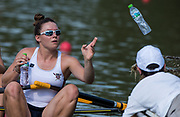 """Plovdiv BULGARIA. 2017 FISA. Rowing World U23 Championships. <br /> USA BW4X.  GUTKNECHT, Meghan, throwing the """"Empties Out"""".<br /> Wednesday. PM,  Heats 17:16:09  Wednesday  19.07.17   <br /> <br /> [Mandatory Credit. Peter SPURRIER/Intersport Images]."""