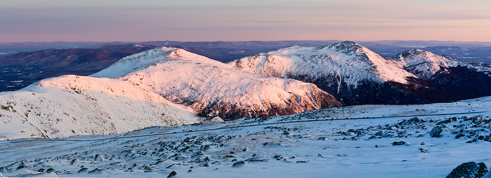 The Northern Presidentials as seen from Mount Washington in New Hampshire's White Mountains. Winter.