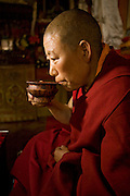 The head nun of the Lhasaani Tsang Kung Nunnery,  Tsul Tim Lhamu. (Tsul Tim Lhamu was photographed for the book project What I Eat: Around the World in 80 Diets.) MODEL RELEASED.
