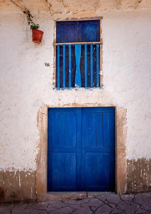 MARAS, PERU - CIRCA OCTOBER 2015:  Front door in the Maras village in the Cusco region known as Sacred Valley