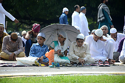 September 2, 2017 - Kolkata, West Bengal, India - Indian Muslim children participates in  the Eid al- Adha prayer at Red Road in Kolkata, India on Saturday , 2nd September, 2017. Eid al-Adha, also called the ''Sacrifice Feast'' or Bakr-Eid is celebrated worldwide its honours the willingness of Ibrahim to sacrifice his son as an act of submission to God's command, before God then intervened sending angel Jibril's and informs him that his sacrifice has already been accepted. (Credit Image: © Sonali Pal Chaudhury/NurPhoto via ZUMA Press)