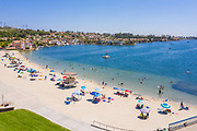 Aerial View of People on the Beach at Lake Mission Viejo