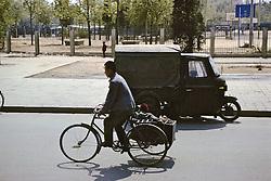 Three Wheeled Bike & Boy On Side Cart