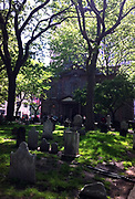 Cemetery at a church near Ground Zero in the financial district of New York city.