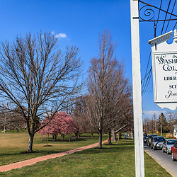 Chestertown, MD, USA - March 30, 2013:A hanging sign along the campus sign at Washington College in Chestertown Maryland