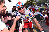 Arrival KRISTOFF Alexander (NOR) Katusha, winner, Press Journalist during the 14th Tour of Qatar 2015, Stage 4 Al Thakhira - Mesaieed (165,5Km), on February 11, 2015. Photo Tim de Waele / DPPI
