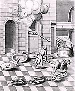Assaying copper and lead: prepared and weighed ore (1) and assay oven (2). From 1683 English edition of Lazarus Ercker  'Beschreibung allerfurnemisten mineralischen Ertzt- und Berckwercksarten' originally published in Prague in 1574. Copperplate engraving