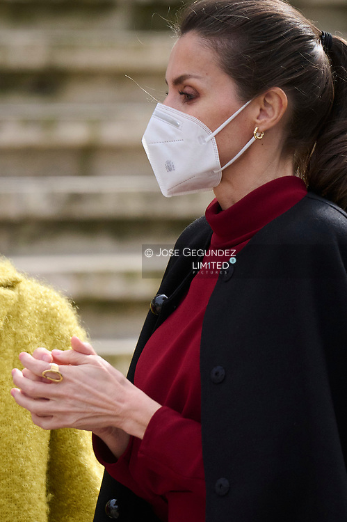 Queen Letizia of Spain Visits to the exhibition 'Concepcion Arenal. The Humanist Passion 1820-1893' at National Library on February 16, 2021 in Mostoles, Spain