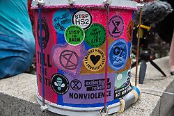 A samba band drum is pictured before the Extinction Rebellion Blood Money March through the City of London on 27th August 2021 in London, United Kingdom. Extinction Rebellion were intending to highlight financial institutions funding fossil fuel projects, especially in the Global South, as well as law firms and institutions which facilitate them, whilst calling on the UK government to cease all new fossil fuel investment with immediate effect.