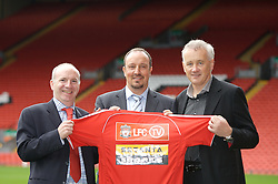 Liverpool, England - Thursday, September 27, 2007: Co-Founder of Setanta Sports Mickey O'Rorke, Liverpool manager Rafael Benitez and Chief-Executive Rick Parry at the launch of the Official Liverpool FC television channel on Setanta Sports at Anfield. (Photo by David Rawcliffe/Propaganda)..For more details regarding LFC TV please contact Jo Crump or Steven Hartley at LiverpoolFC.TV jo,crump@liverpoolfc.tv / steven.hartley@liverpoolfc.tv