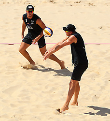 New Zealand's Ben O'Dea (left) and Sam O'Dea in action during the Men Preliminary - Pool C Beach Volleyball match at Coolangatta Beachfront during day two of the 2018 Commonwealth Games in the Gold Coast, Australia.