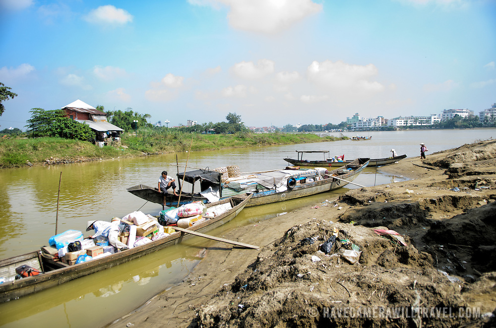 The waterfront of the Perfume River next to Dong Ba market in the central Vietnamese city of Hue.