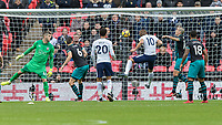 Football - 2017 / 2018 Premier League - Tottenham Hotspur vs. Southampton<br /> <br /> Harry Kane (Tottenham FC)  heads home his 38th goal of the Calendar year to break the previous record set by Alan Shearer at Wembley Stadium.<br /> <br /> COLORSPORT/DANIEL BEARHAM