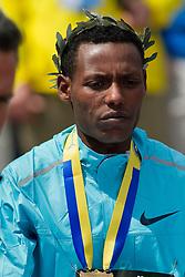 2013 Boston Marathon: mens winner Lelisa Desisa, after race