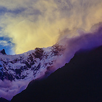 A sunset in the Annapurna Sanctuary, Nepal.