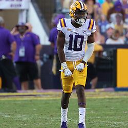Sep 26, 2020; Baton Rouge, Louisiana, USA; LSU Tigers wide receiver Jaray Jenkins (10) against the Mississippi State Bulldogs during the second half at Tiger Stadium. Mandatory Credit: Derick E. Hingle-USA TODAY Sports