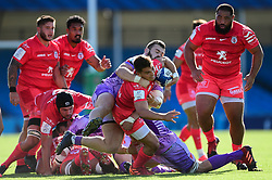 Antoine Dupont of Toulouse is challenged by Luke Cowan-Dickie of Exeter Chiefs - Mandatory by-line: Ryan Hiscott/JMP - 26/09/2020 - RUGBY - Sandy Park - Exeter, England - Exeter Chiefs v Toulouse - Heineken Champions Cup Semi Final