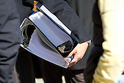 Volagi co-founder Robert Choi carries binders of paperwork relevant to the Specialized lawsuit out of the San Jose Superior Court in downtown San Jose, Calif. on Friday Jan. 13, 2011.  Photo by Stan Olszewski/SOSKIphoto.com