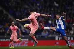 December 8, 2018 - Barcelona, Catalonia, Spain - December 8, 2018 - Cornella- El Prat, Barcelona, Spain - LaLiga Santander- RCD Espanyol v FC Barcelona; Luis Suarez of FC Barcelona kicks a the ball in the air. (Credit Image: © Marc Dominguez/ZUMA Wire)