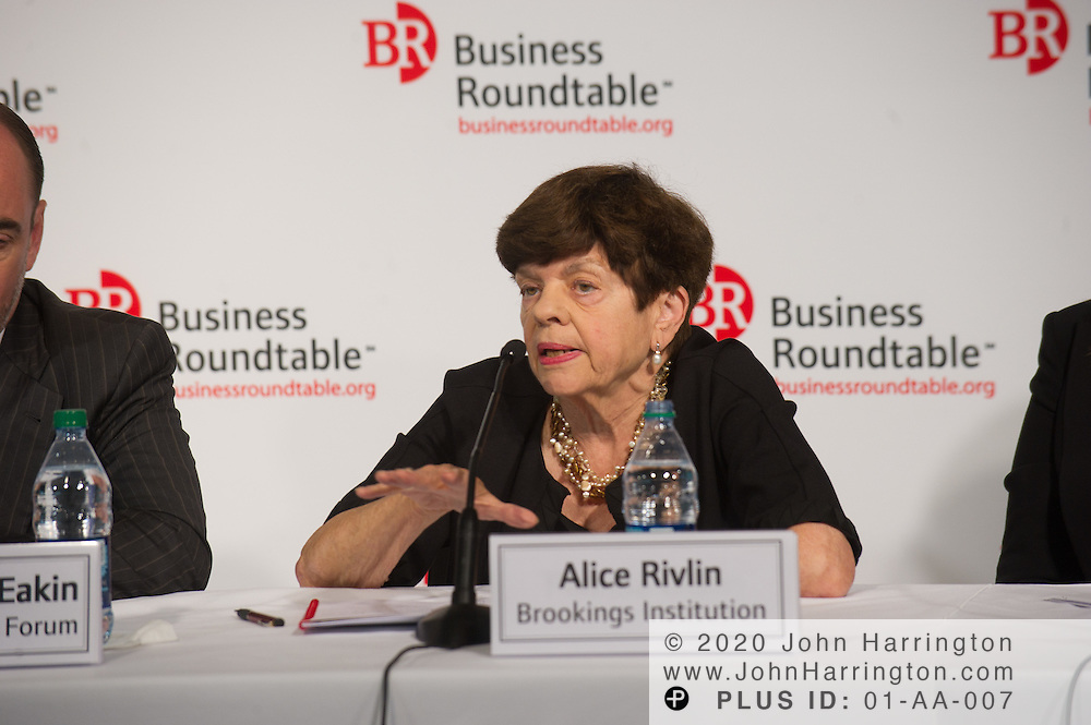 """Alice Rivlin, Senior Fellow, Brookings Institution speaks in a panel during the Business Roundtable """"Meeting the Challenges of Economic Growth and Deficit Reduction"""" discussion at the Newseum in Washington, DC on September 6th, 2011."""