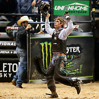 LAS VEGAS, NV - JUNE 11: Conner Halverson celebrates during the PBR Las Vegas Invitational, on June 11, 2021, at the MGM Grand Garden Arena, in Las Vegas, Nevada. (Photo by Chris Elise)