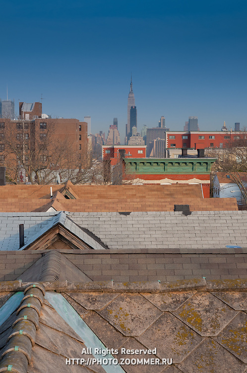 New Jersey roofs with Empire State Building in the distance