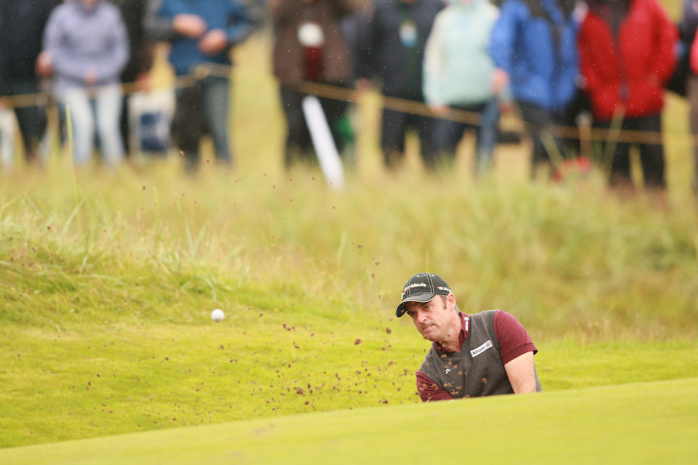 CARNOUSTIE, SCOTLAND - JULY 22:  Paul McGinley hits a bunker shot during the fourth round of the 136th Open Championship in Carnoustie, Scotland at Carnoustie Golf Links on Sunday, July 22, 2007. (Photo by Darren Carroll/Getty Images) *** LOCAL CAPTION *** Paul McGinley