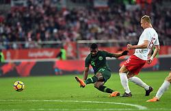 WROCLAW, March 24, 2018  Kelechi Iheanacho (L) of Nigeria shoots during an international friendly game between Poland and Nigeria in Wroclaw, Poland, on March 23, 2018. Nigeria won 1-0. (Credit Image: © Jaap Arriens/Xinhua via ZUMA Wire)