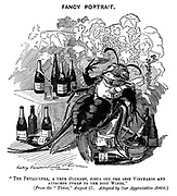 """Fancy Portrait. """"The Phylloxera, a true gourmet, finds out the best vineyards and attaches itself to the best wines."""" (From the """"Times,"""" August 27. Adapted by our appreciative artist.)"""