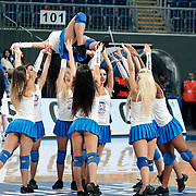 Anadolu Efes's show girls during their Turkish Basketball League match Anadolu Efes between Pinar Karsiyaka at Arena in Istanbul, Turkey, Saturday, November 26, 2011. Photo by TURKPIX