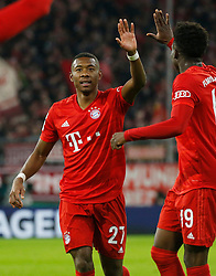 05.02.2020, Allianz Arena, Muenchen, GER, DFB Pokal, FC Bayern Muenchen vs TSG 1899 Hoffenheim, Achtelfinale, im Bild Jubel: David Alaba, Alphonso Davies // during the German Pokal the round of last sixteen match between FC Bayern Muenchen and TSG 1899 Hoffenheim at the Allianz Arena in Muenchen, Germany on 2020/02/05. EXPA Pictures © 2020, PhotoCredit: EXPA/ SM<br /> <br /> *****ATTENTION - OUT of GER*****
