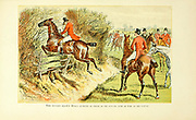 "Colour Fox Hunting illustration From the book ' The best season on record ' selected and republished from ""The field"" by Captain Pennell-Elmhirst, Edward 1845-1916; Illustrated by John Sturgess, Published in London by George Routledge and Sons 1884"