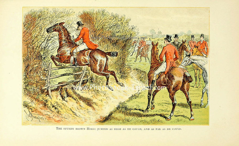 """Colour Fox Hunting illustration From the book ' The best season on record ' selected and republished from """"The field"""" by Captain Pennell-Elmhirst, Edward 1845-1916; Illustrated by John Sturgess, Published in London by George Routledge and Sons 1884"""