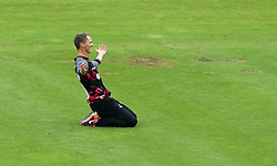 Max Waller of Somerset celebrates taking the wicket of  Shahid Afridi of Hampshire - Mandatory by-line: Robbie Stephenson/JMP - 19/06/2016 - CRICKET - Cooper Associates County Ground - Taugnton, United Kingdom - Somerset v Hampshire - NatWest T20 Blast