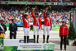 Team Switzerland 3th place Team Test - Endurance - Alltech FEI World Equestrian Games™ 2014 - Normandy, France.<br /> © Hippo Foto Team - Dirk Caremans<br /> 29/08/14
